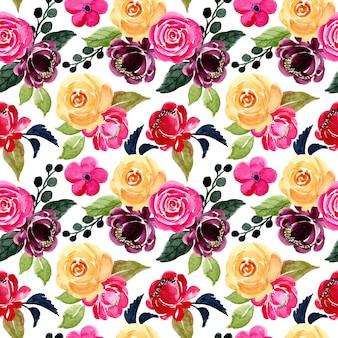 Ładny kwiatowy wzór akwarela