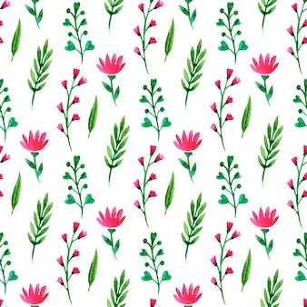 Ładny kwiatowy wzór. letnie kwiaty, gałęzie i liście