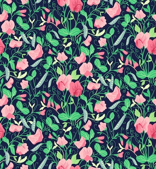 Ładny kwiatowy wzór z kwiatami groszku. ciemnoniebieskie tło.