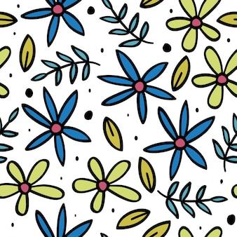 Ładny kwiatowy wzór z liśćmi