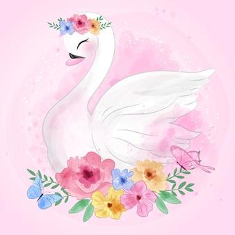 Ładny łabędź z kwiatami