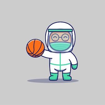 Ładny lekarz gra w koszykówkę