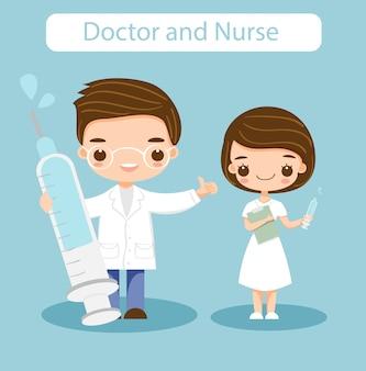 Ładny lekarz i pielęgniarka postać z kreskówki