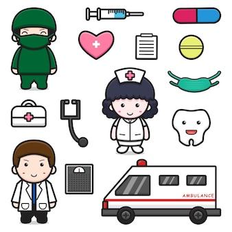 Ładny lekarz i wyposażenie obiektu zestaw kreskówka wektor ikona ilustracja. światowy dzień zdrowia ikona koncepcja na białym tle wektor. płaski styl kreskówki