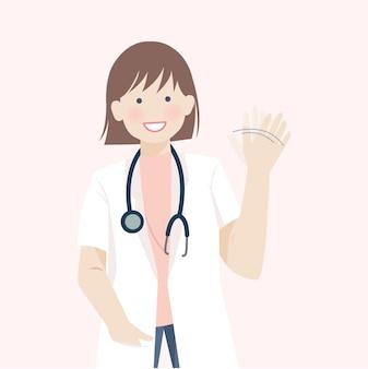 Ładny lekarz kobieta uśmiecha się i macha ręką