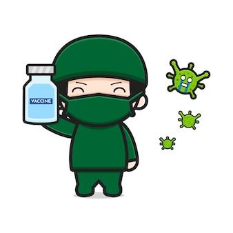 Ładny lekarz posiadający szczepionkę wirusową kreskówka ikona ilustracja wektorowa. projekt na białym tle. płaski styl kreskówek.