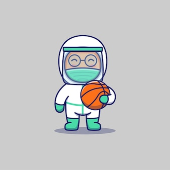 Ładny lekarz prowadzący koszykówkę