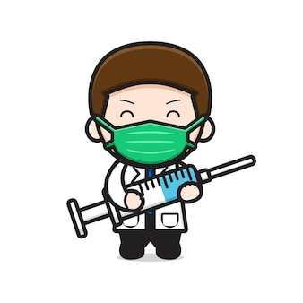 Ładny lekarz trzymając strzykawkę ikona ilustracja kreskówka wektor. projekt na białym tle. płaski styl kreskówek.