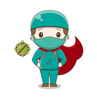 Ładny lekarz ubrany w garnitur chirurgiczny jako bohater ilustracja postaci chibi na białym tle