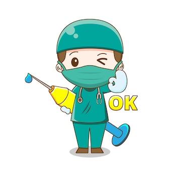 Ładny lekarz ubrany w garnitur chirurgii, trzymając ilustracja wtrysku na białym tle