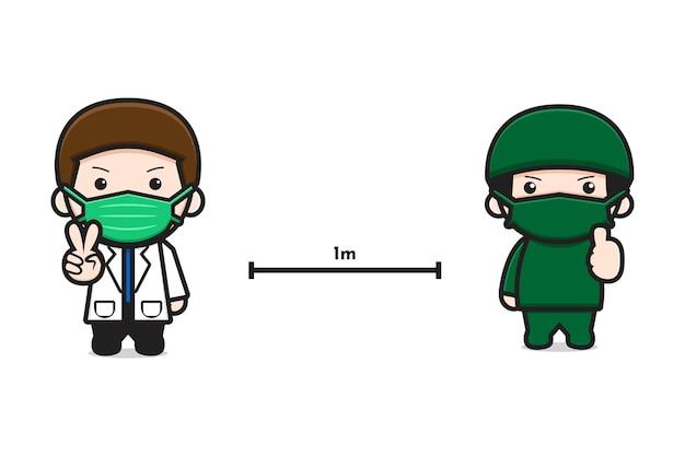Ładny lekarz utrzymać odległość kreskówka ikona ilustracja wektorowa. projekt na białym tle. płaski styl kreskówek.