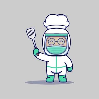 Ładny lekarz w kapeluszu szefa kuchni niosący łopatkę