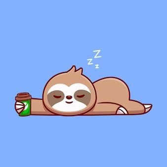 Ładny lenistwo spanie z filiżanką kawy kreskówka wektor ikona ilustracja. koncepcja ikona napój zwierząt na białym tle premium wektor. płaski styl kreskówki