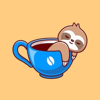 Ładny lenistwo z filiżanką kawy kreskówka wektor ikona ilustracja. koncepcja ikona napój zwierząt na białym tle premium wektor. płaski styl kreskówki