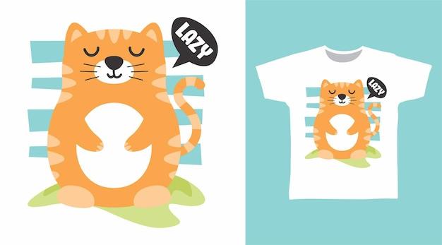 Ładny leniwy projekt koszulki dla kota