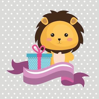 Ładny leon z kartką urodzinową kawaii prezent