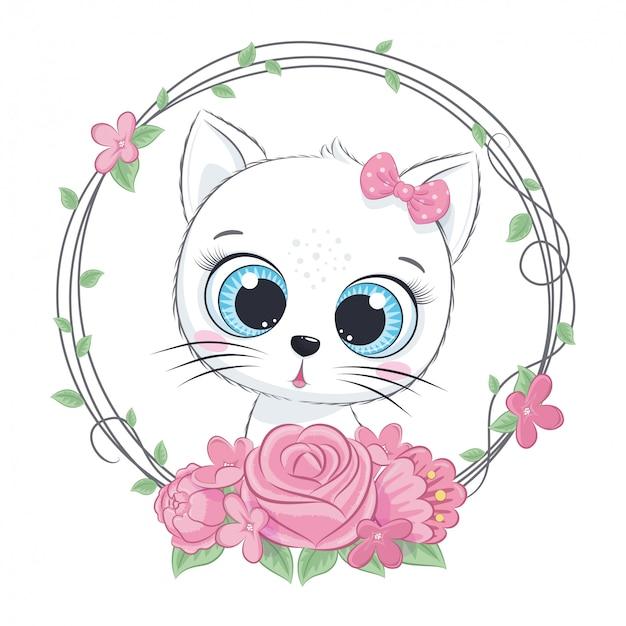 Ładny letni kotek z wiankiem kwiatów. ilustracja wektorowa na chrzciny, karty z pozdrowieniami, zaproszenie na przyjęcie, modne ubrania nadruk t-shirt
