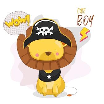 Ładny lew chłopiec z kapelusz piratów