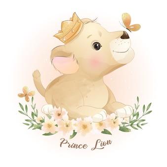 Ładny lew doodle z kwiatową ilustracją