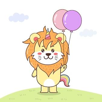 Ładny lew jednorożca gospodarstwa balony.