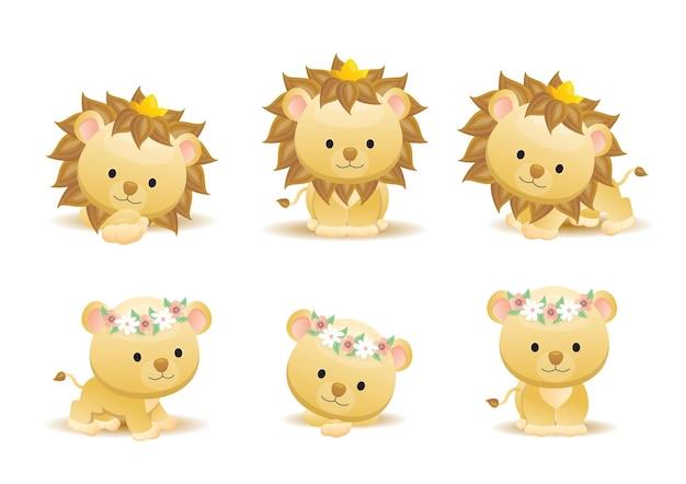 Ładny lew kreskówka zwierzę