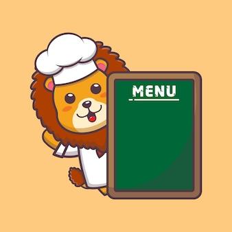 Ładny lew kucharz ilustracja kreskówka