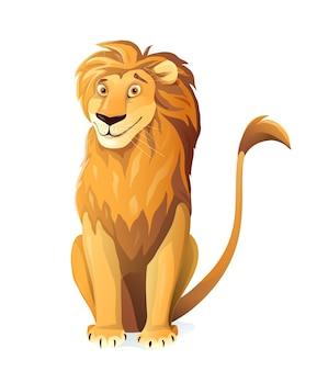 Ładny lew postać z kreskówki ilustracja projekt. safari afrykańskie zwierzę clipart dla dzieci, uroczy lew wyglądający figlarnie.