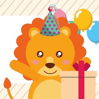Ładny lew pudełko balony z życzeniami wszystkiego najlepszego z okazji urodzin