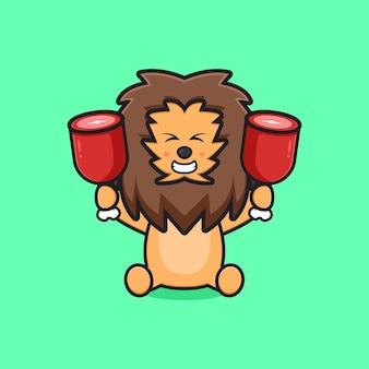 Ładny lew trzymający dwa mięsa ikona ilustracja kreskówka. zaprojektuj na białym tle płaski styl kreskówki