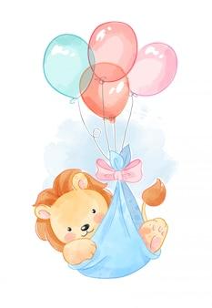 Ładny lew w balony credle ilustracji