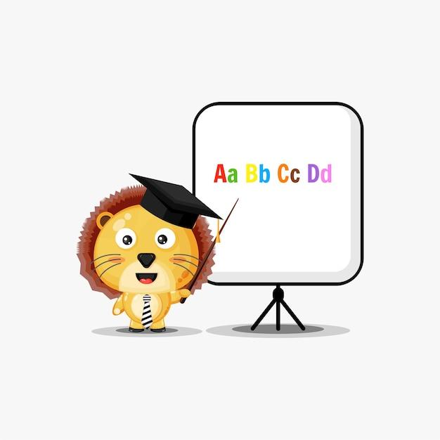 Ładny lew zostaje nauczycielem na białym tle