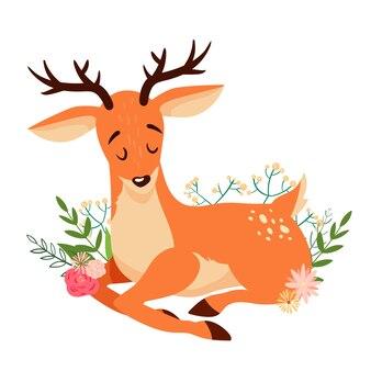 Ładny leżący kreskówka jelenia z kwiatowymi elementami.