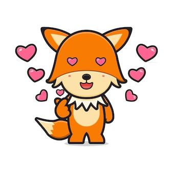 Ładny lis czuje piękny kreskówka ikona ilustracja wektorowa. projekt na białym tle. płaski styl kreskówek.