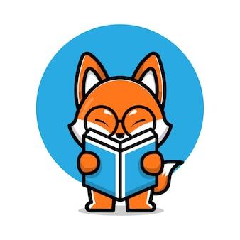 Ładny lis czytający książkę ikona ilustracja kreskówka