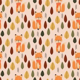 Ładny lis i jesień wzór.