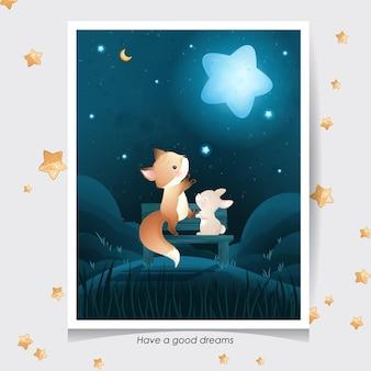 Ładny lis i mały króliczek z akwarela ilustracja