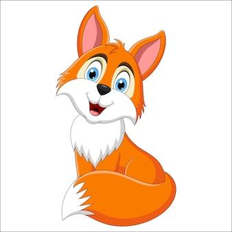 Ładny lis kreskówka siedzi na białym tle