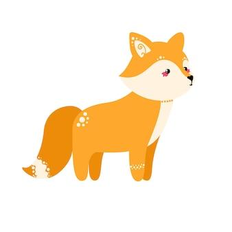 Ładny lis na białym tle. ilustracja wektorowa w stylu płaski.