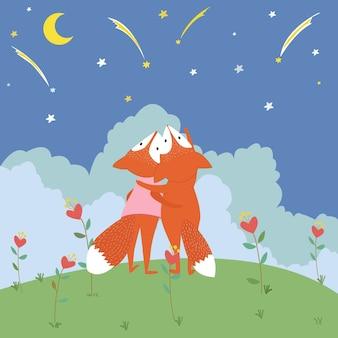 Ładny lis patrząc spadającą gwiazdę.