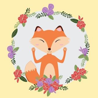 Ładny lis ręcznie rysowane doodle