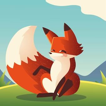 Ładny lis siedzi kreskówka zwierzę na ilustracji trawy