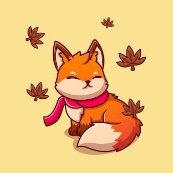 Ładny lis siedzi z szalikiem ikona ilustracja kreskówka jesienią. ikona zwierząt natura na białym tle. płaski styl kreskówki
