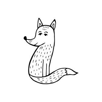 Ładny lis skandynawski. ręcznie rysowane ilustracji wektorowych. zabawny, uroczy, ogromny, ręcznie rysowane zwierzę na plakat, baner, nadruk, ozdobę pokoju zabaw dla dzieci lub kartkę z życzeniami.