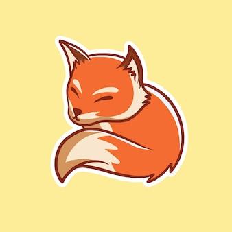 Ładny lis śpi ikona ilustracja kreskówka ikona zwierząt koncepcjawyizolowany premium płaski styl kreskówki
