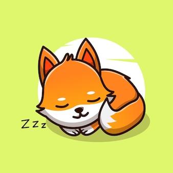 Ładny lis śpi maskotka charakter ilustracja wektor ikona