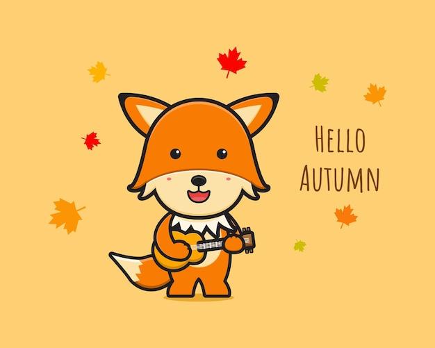 Ładny lis świętować jesień ikona ilustracja kreskówka. zaprojektuj na białym tle płaski styl kreskówki