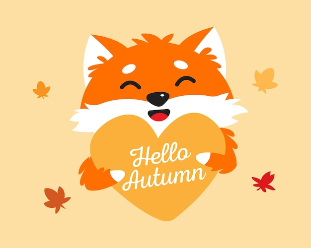 Ładny lis trzymający kształt serca witaj jesienny tekst