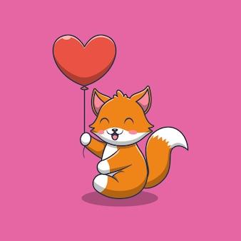 Ładny lis trzymający miłość balonu ilustracja kreskówka