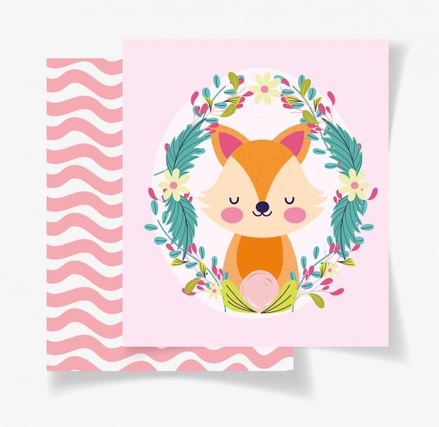 Ładny lis wieniec kwiaty karta baby shower