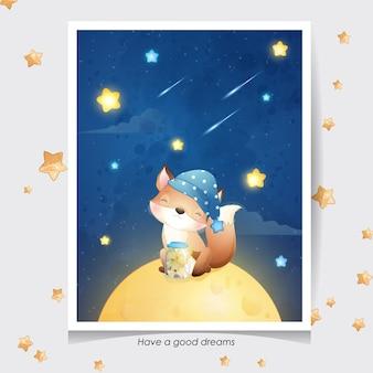 Ładny lis z akwarela ilustracja